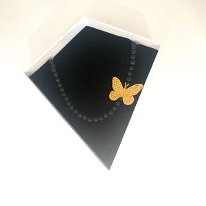Black Pearl 18 K Gold Butterfly Necklace NEW